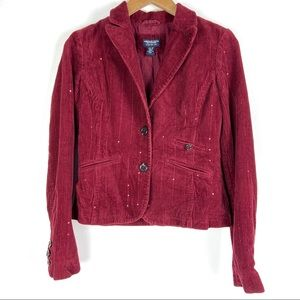 AMERICAN EAGLE blazer jacket Small red sequin o908